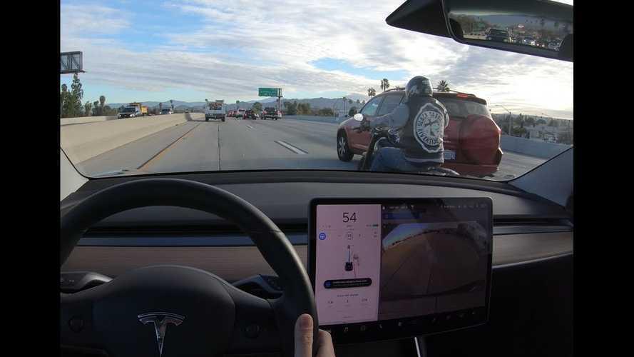 Watch Tesla Model 3 Autopilot Detect Lane-Splitting Motorcycles