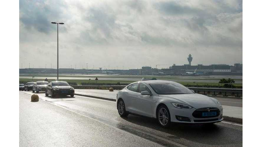 167 Tesla Model S Taxis Parade Around Schiphol Airport In Amsterdam (w/video)