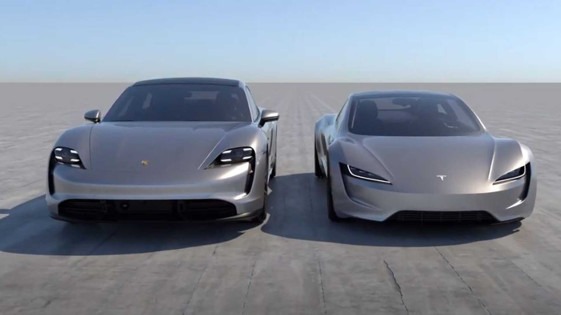 See New Tesla Roadster Next To Porsche Taycan Size Difference Is Huge