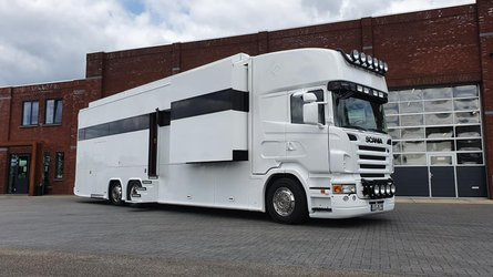 Amazing Scania motorhome has three bedrooms with garage and posh interior