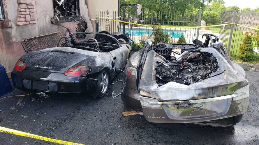 Mysterious Fire Takes Out A Tesla, Porsche And Part Of A House