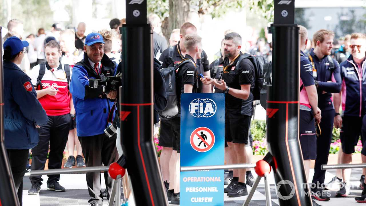 F1 teams wait for nightly curfew to end outside paddock gates at Australian GP 2020