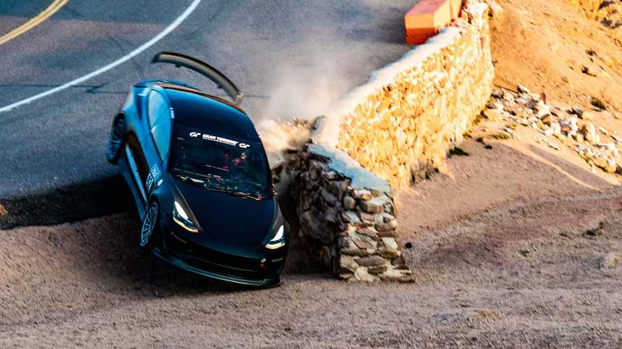 Remember The Insane Flying Tesla Model 3? It's Being Rebuilt For Pikes Peak