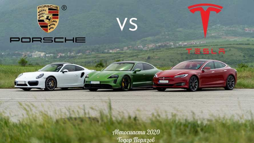 Watch Tesla Model S P100D vs Porsche Taycan Turbo S drag race
