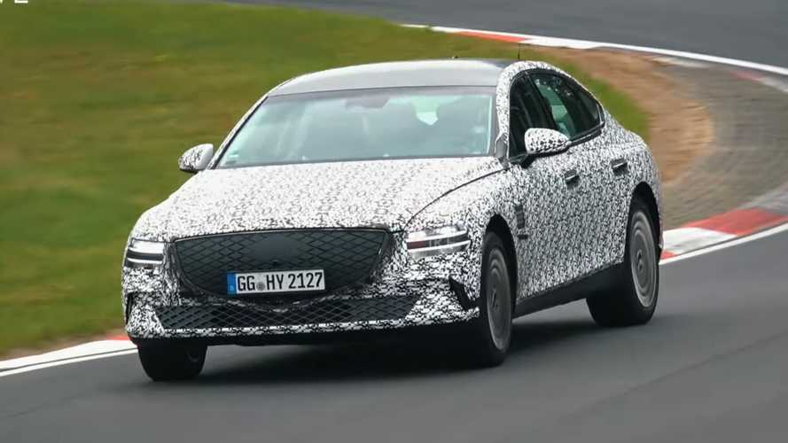 Electrified Genesis G80 Spied With Closed-Off Grille, No Tailpipes