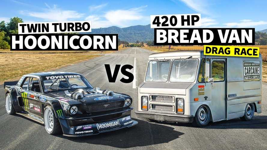 1,400-bhp Mustang Hoonicorn drag races 420-bhp Hoonigan van