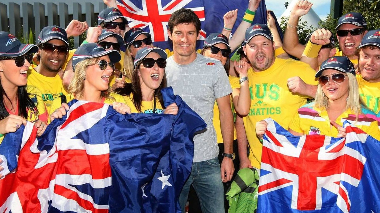 Mark Webber (AUS), Red Bull Racing with his fan club, Australian Grand Prix, 26.03.2010 Melbourne, Australia