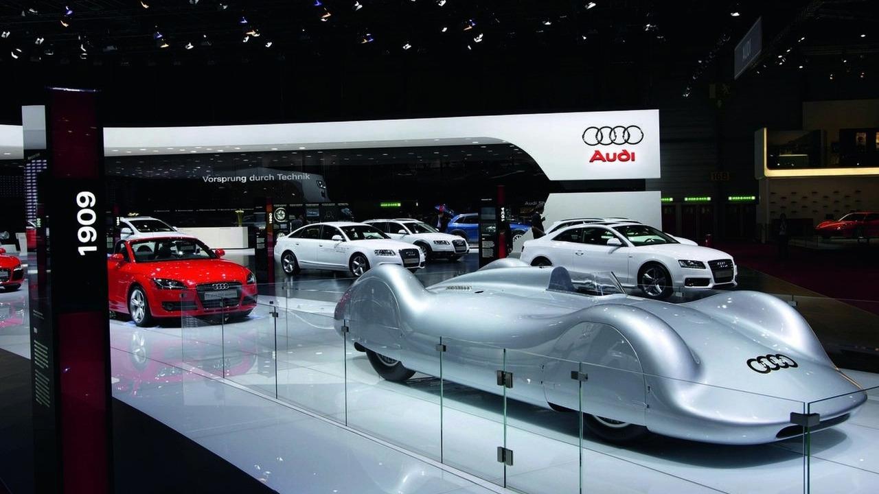 Arnold Schwarzenegger Visits Audi Booth At Geneva Motor Show - Car show booth