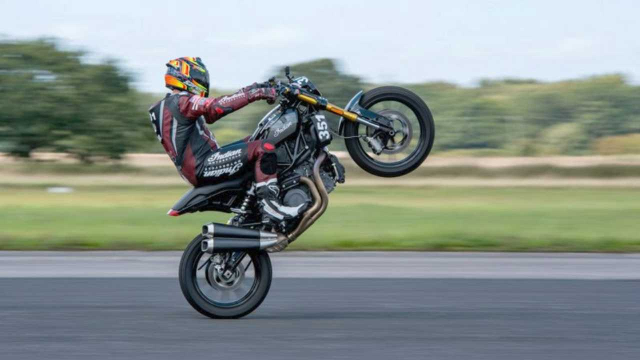 Indian FTR Sets UK Speed Record On One Wheel