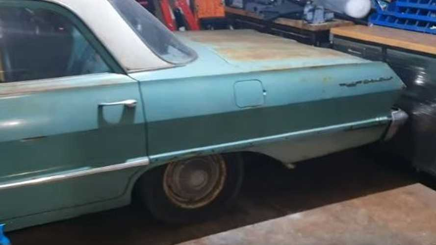 1963 Chevy Bel Air Squeezed To Fit Inside Modern Garage