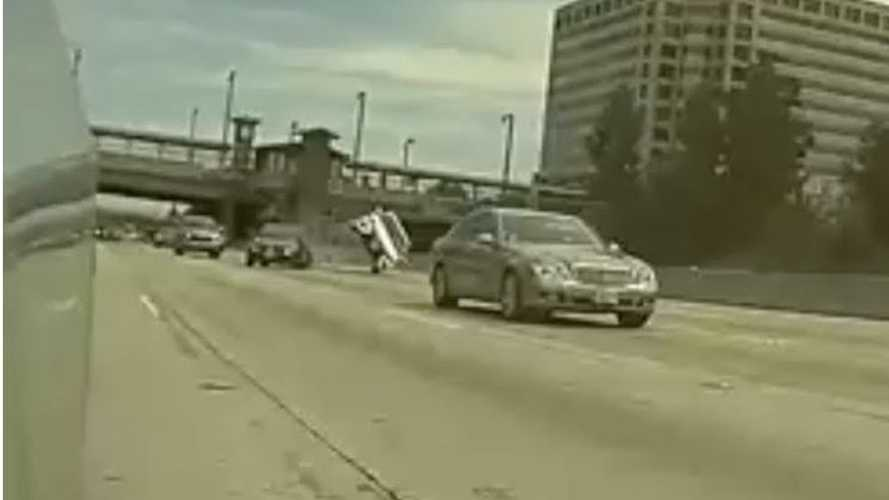 Tesla Dashcam Captures A Car Flipping On The Freeway: Video