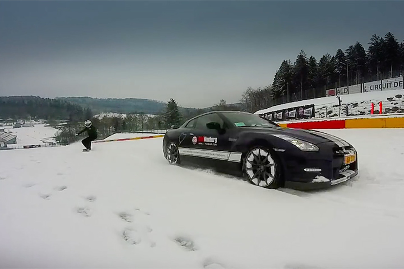 Watch a Snowboarder Carve Behind a Nissan GT-R