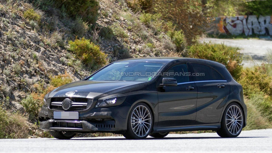 2016 Mercedes A45 AMG spied with a sportier front bumper