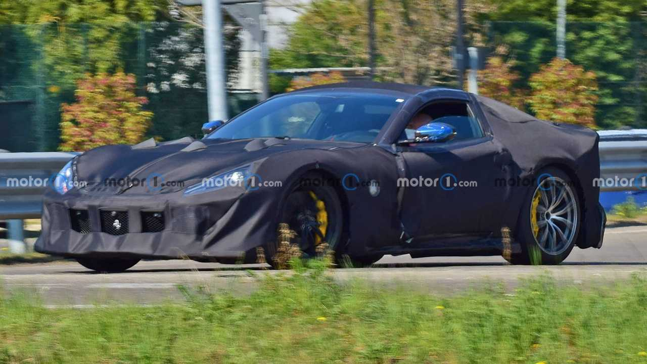 A spy photo captures a test version of a new Ferrari 812 Superfast variant.
