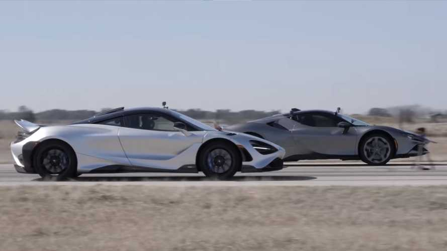 Watch McLaren 765LT Try To Handle Ferrari SF90 In Epic Drag Race