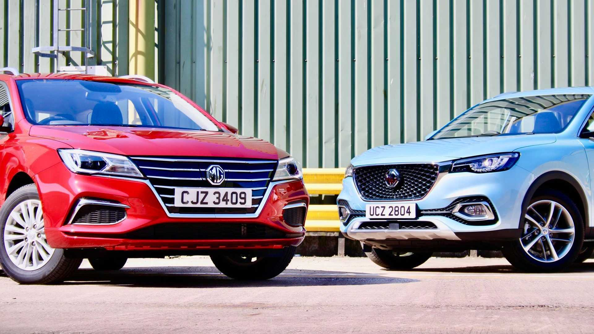 MG5 EV (red) and MG HS Plug-in (blue)