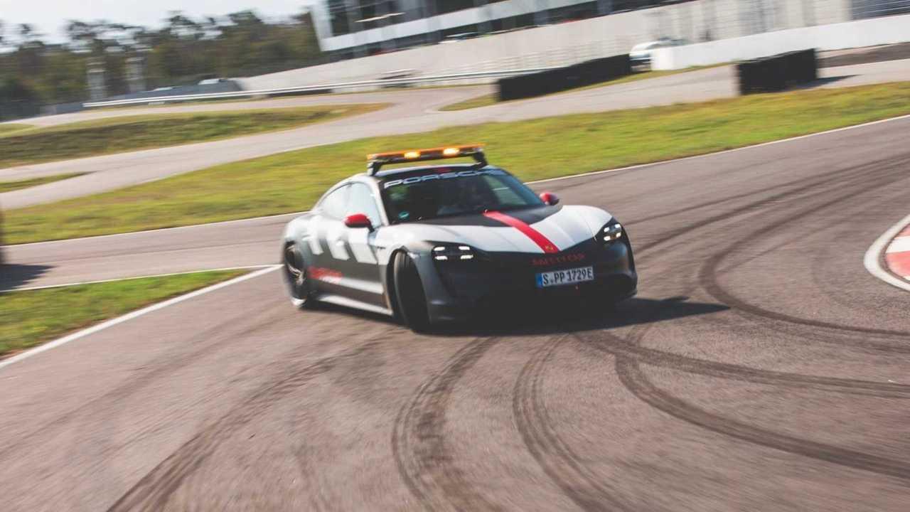 The Porsche Taycan Turbo as safety car at the Porsche Carrera Cup Deutschland