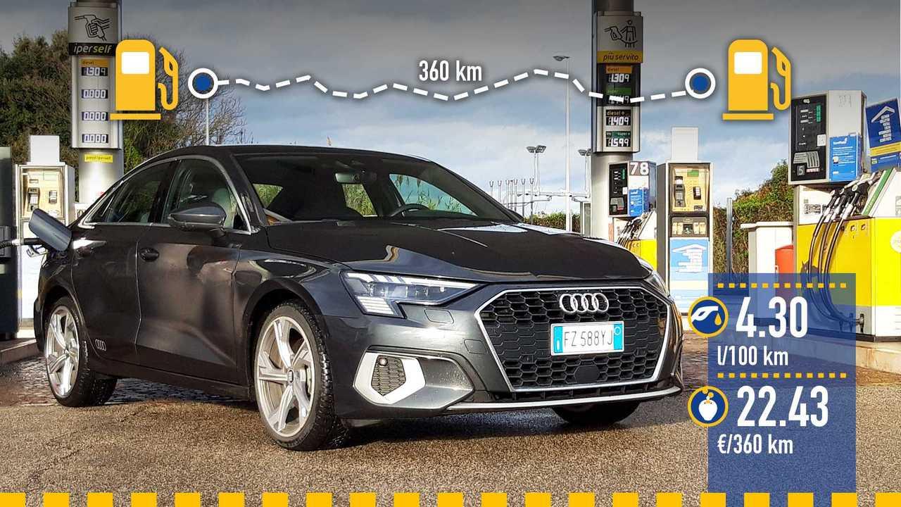 Audi A3 Sedan mild hybrid, la prova consumi