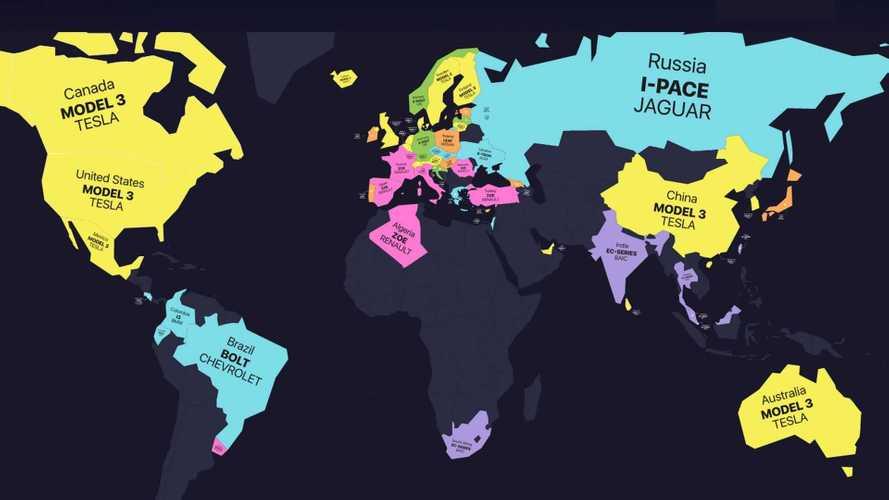 'Mapa das vendas' mostra os carros elétricos preferidos em cada país