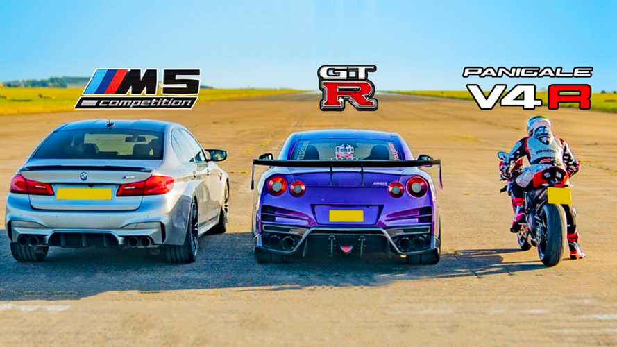 Tuned BMW M5, Nissan GT-R fight Ducati superbike in a drag race