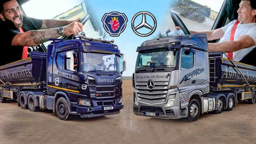 Mercedes Actros Duels Scania R500 In The Slowest Drag Race Ever