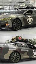 Tesla Model S with army camo wrap