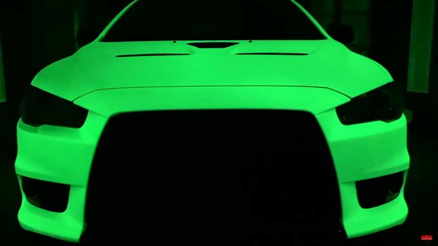 This glow-in-the-dark Mitsubishi Evo is the stuff of nightmares