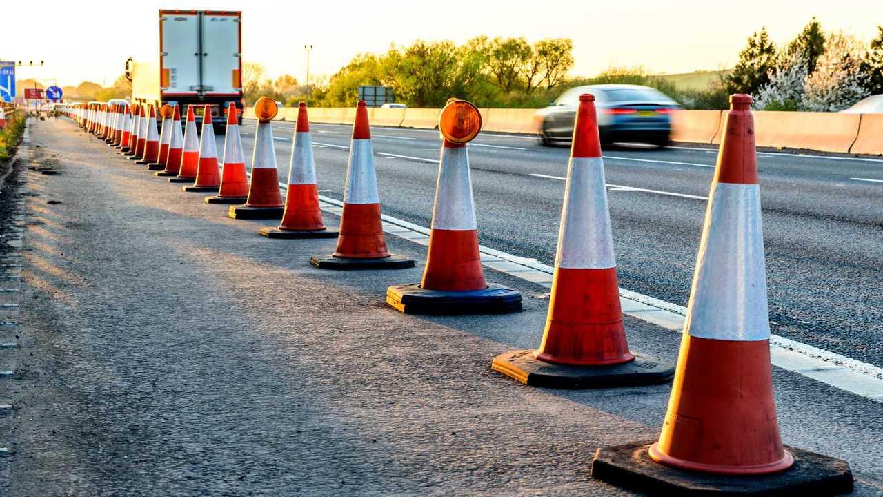 UK motorway services roadworks cones
