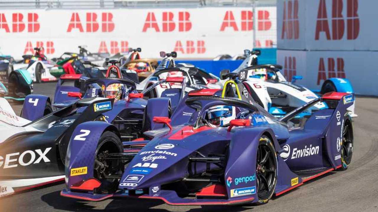 Sam Bird, Envision Virgin Racing, Audi e-tron FE05 Robin Frijns, Envision Virgin Racing, Audi e-tron FE05, Maximillian Gunther, GEOX Dragon Racing, Penske EV-3