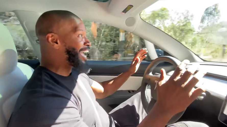 Comedian Jamie Foxx Spends Quality Time With Tesla Model 3 Performance