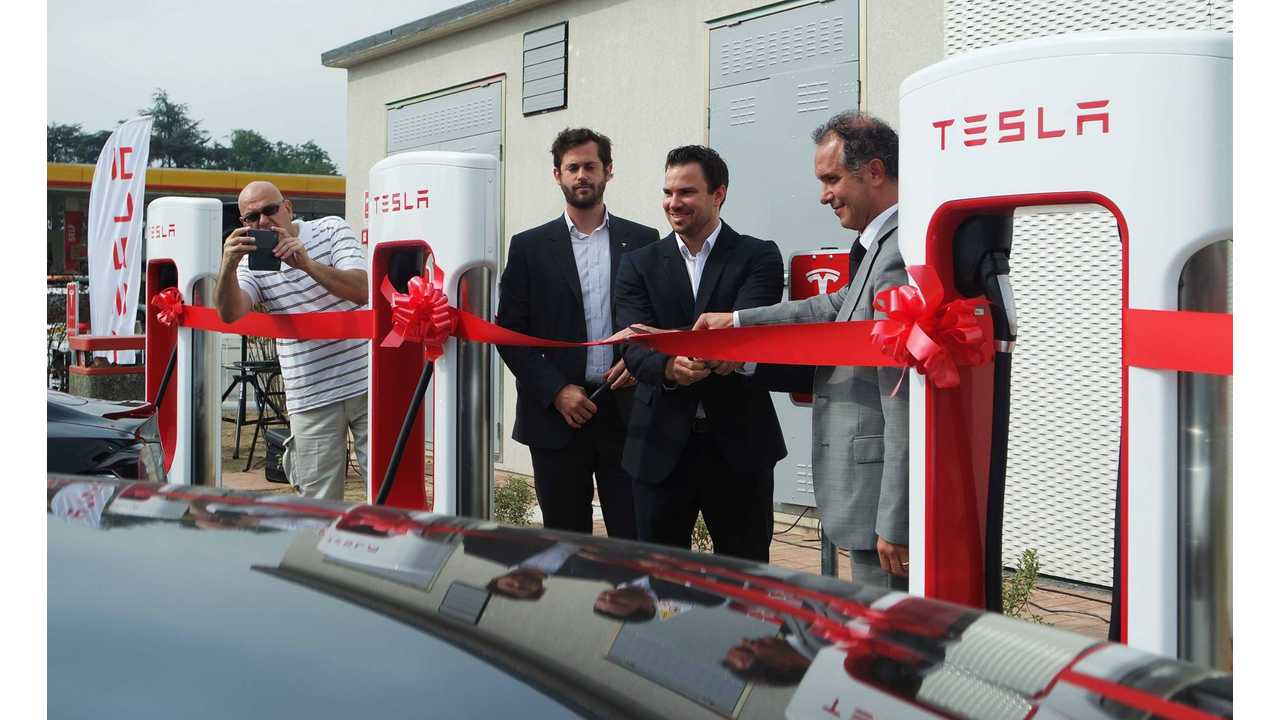Italy Gets Its First Tesla Supercharger