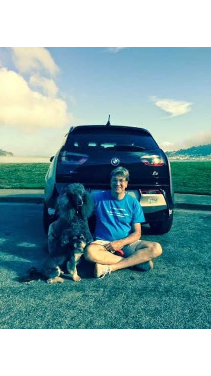 Harold With His Dog And BMW i3