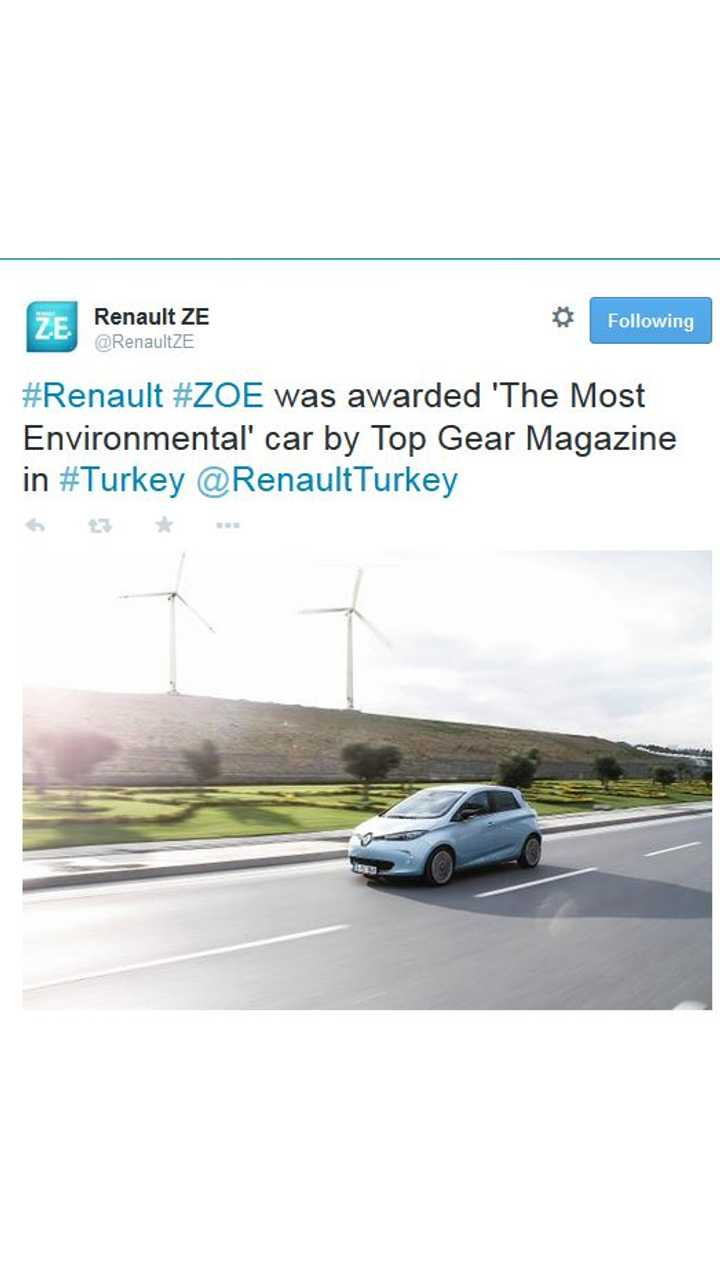 Renault ZOE Named Most Environmental Car By Top Gear Turkey