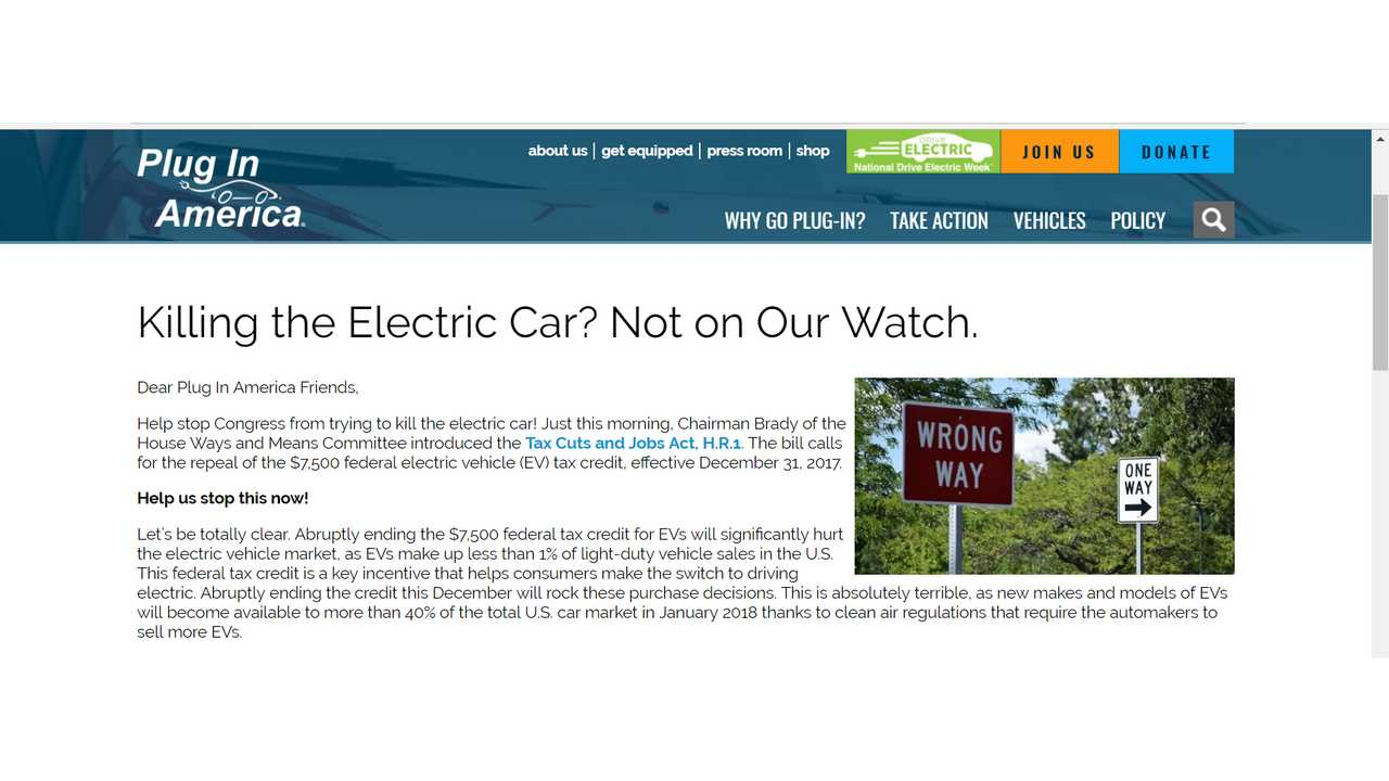 Plug In America Call To Action Ev Tax Credit