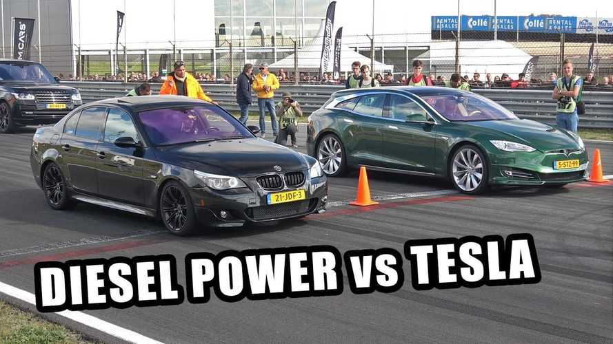 Watch Tesla Model S Wagon Race Dirty BMW Diesel