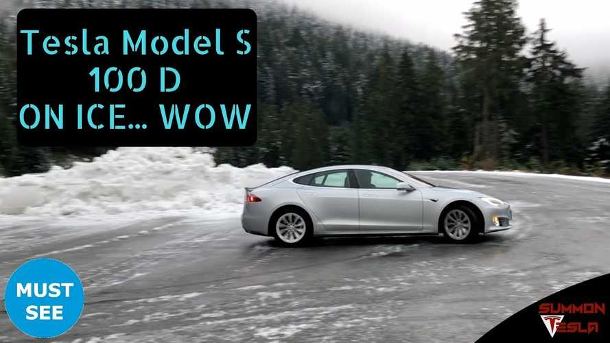 Watch This Tesla Model S 100D Trying To Play On Ice