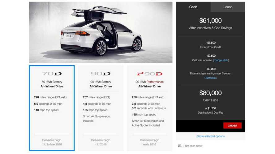 Tesla Model X 70D On Sale Now From $80,000, 220 Miles Range, Open Orders Now Accepted