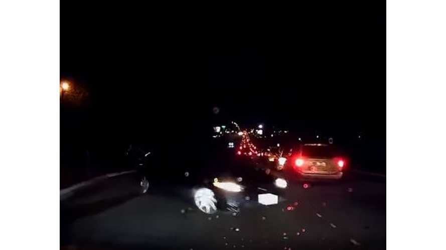 Tesla Model S Auto Braking Prevents Accident - Video