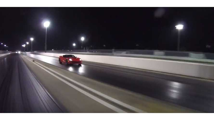 Watch Tesla Model X P100D Smoke Chevy Corvette Z06