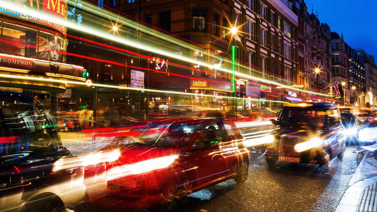 Shaftesbury Avenue at night in the heart of Londons West End