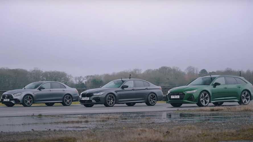 Audi RS6 faces BMW M5, AMG E63 S in wet drag race for German supremacy