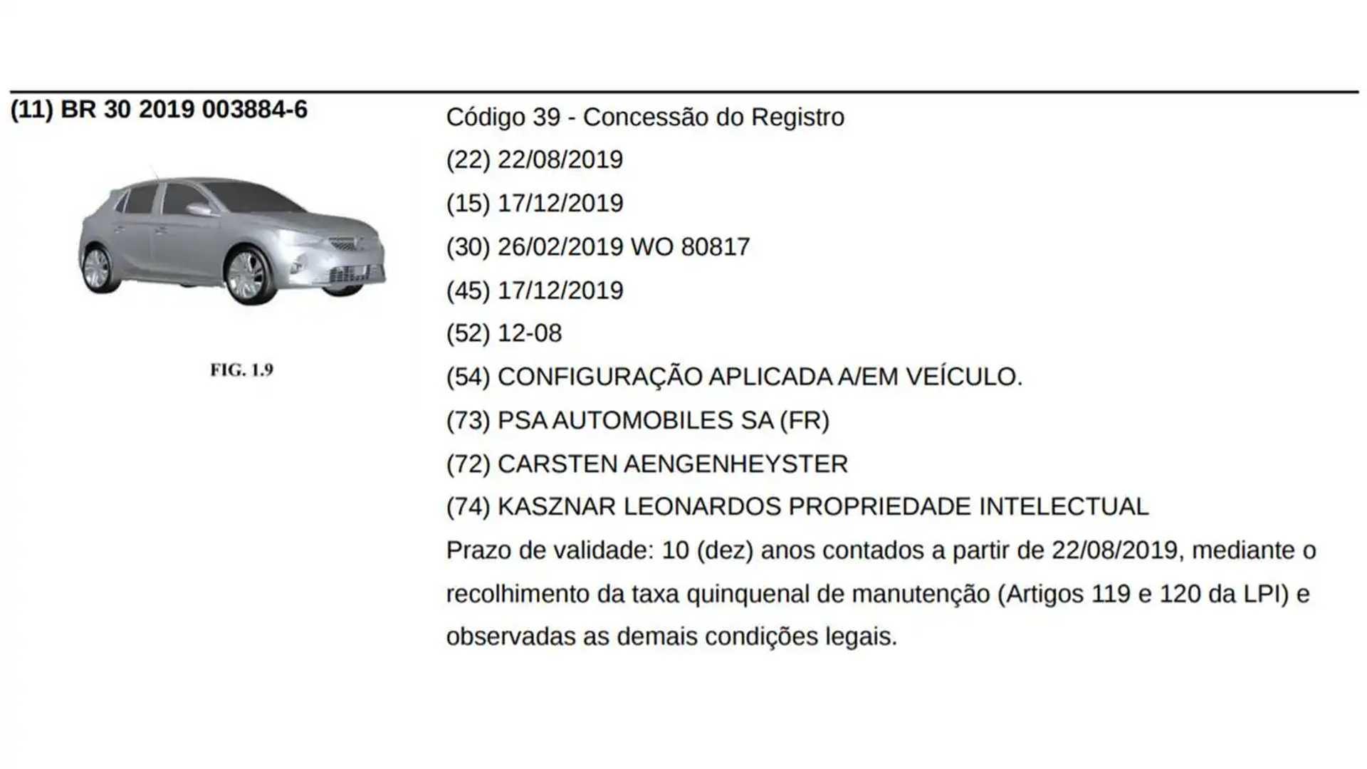 Opel Corsa 2020 - Registro no INPI