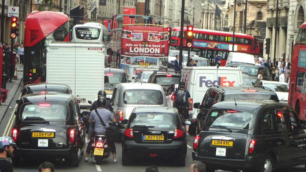 London traffic with taxis and buses