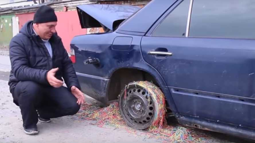 Can 25,000 Rubber Bands Substitute A Tire? Russia Finds Out