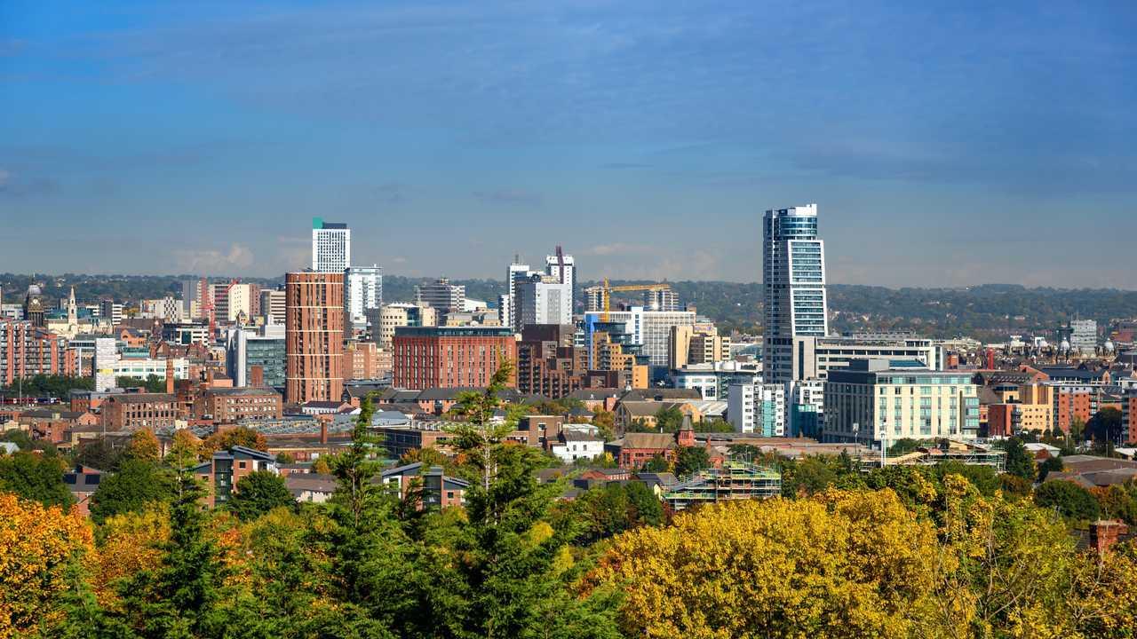 Leeds city skyline Yorkshire UK