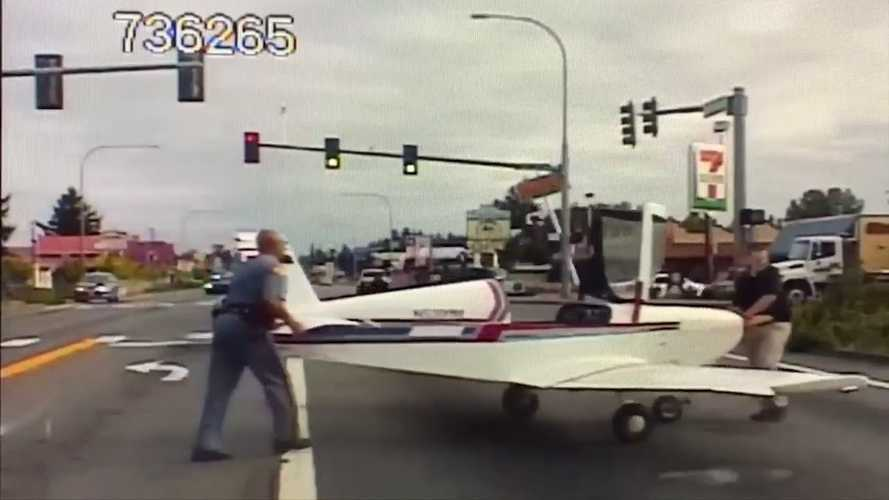 See plane's emergency street landing caught on police dashcam