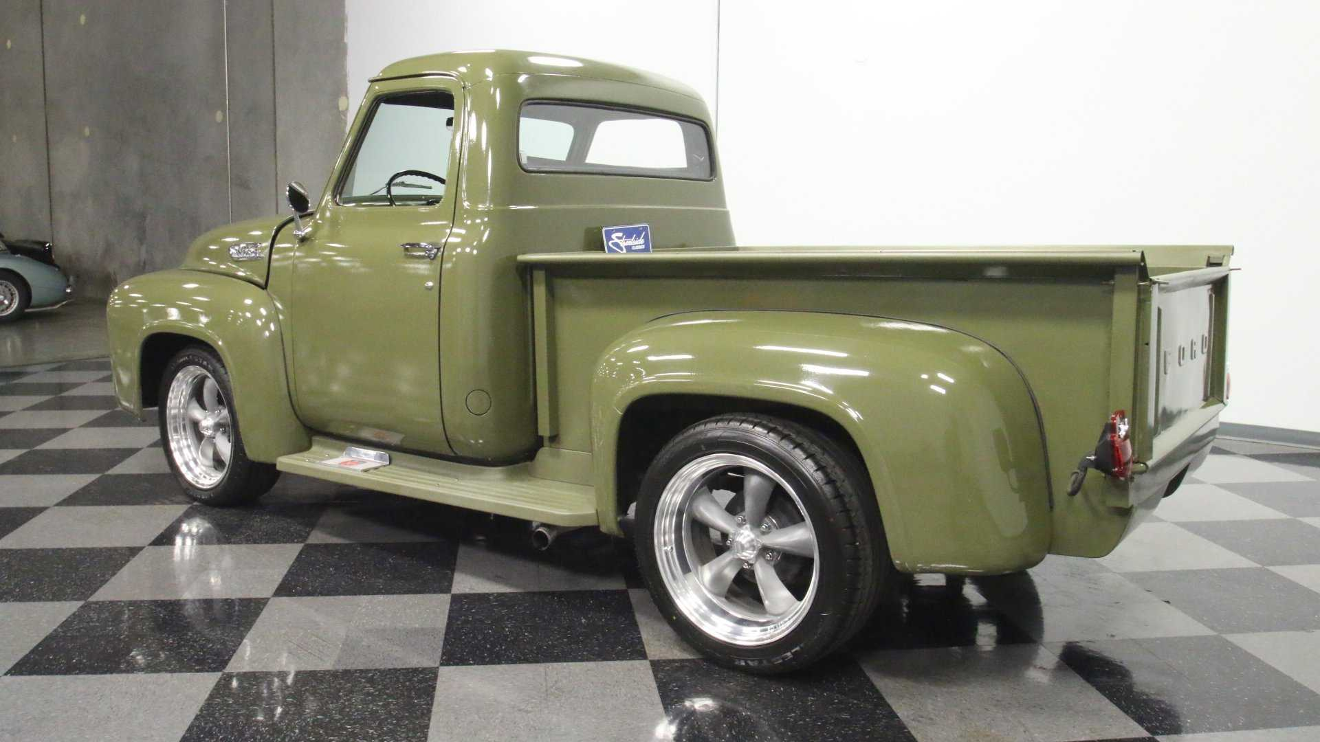 """[""""1954 Ford F-100 In Olive Drab Will Steal Your Gaze""""]"""