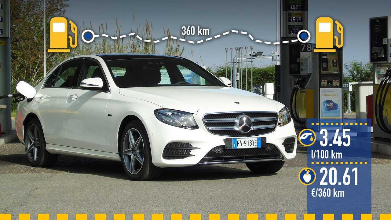 Mercedes Classe E plug-in diesel, la prova consumi