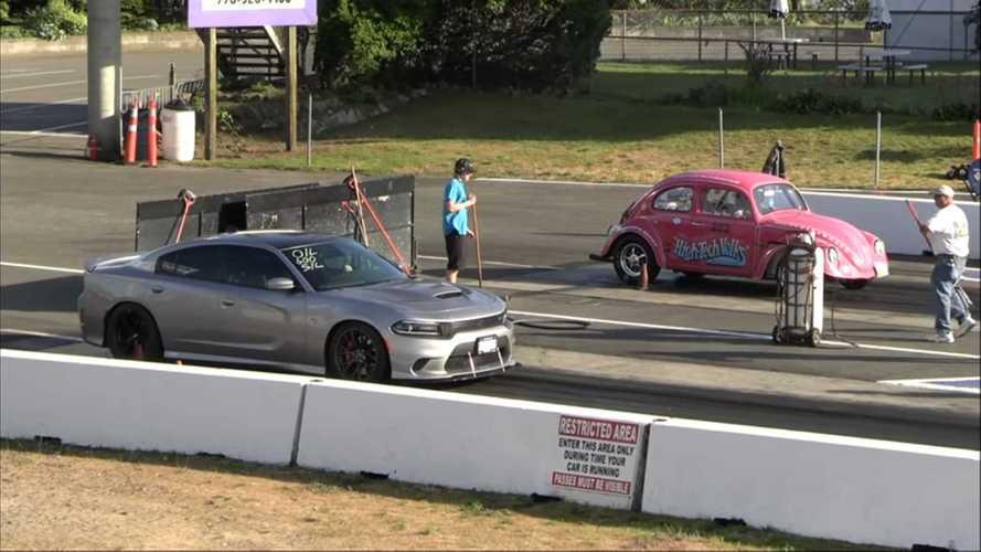 Dodge Charger SRT Hellcat Drag Races Classic Volkswagen Beetle