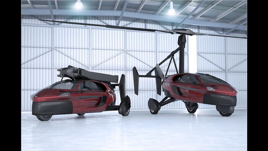 Gyrokopter-Flugauto mit drei Rädern und Neigetechnik geht in Serie